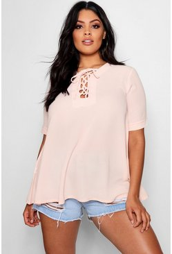 Womens Blush Plus Woven Lace Up Detail Swing Top