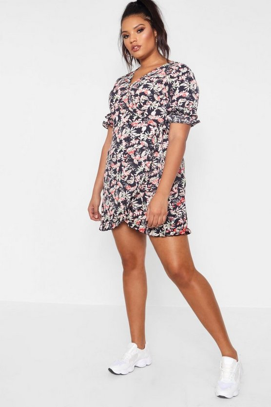Plus Ruffle Sleeve Floral Wrap Dress