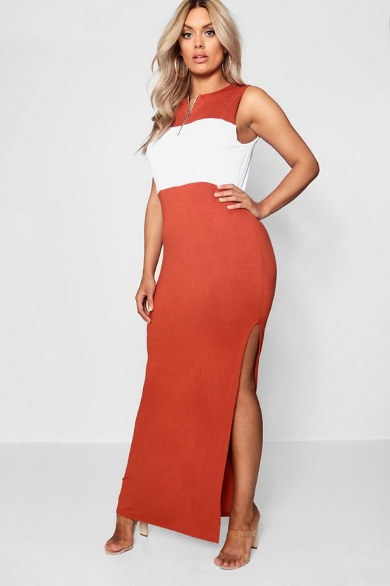 Plus Colour Block Zip Front Maxi Dress