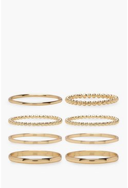 Plus 8er Pack schlichtes Ring-Set aus Gold