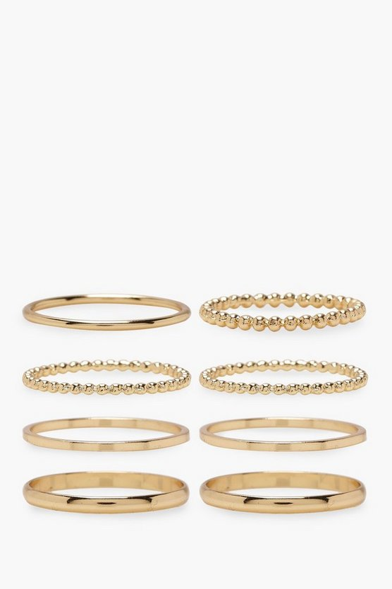 Womens Gold Plus Gold 8 Pack Basic Ring Set