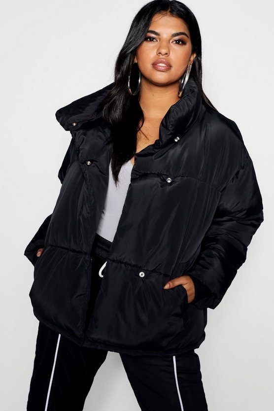 Womens Black Plus Oversized Soft Puffer Jacket