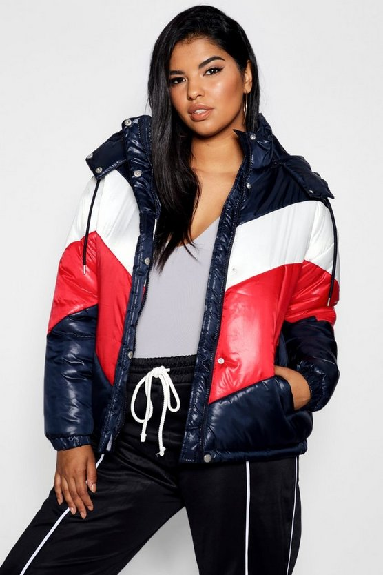 Womens Navy Plus Panelled Colour Block Puffer Jacket