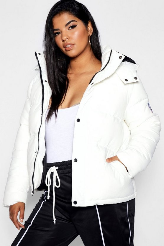 Womens White Plus Zip Through Puffer Jacket
