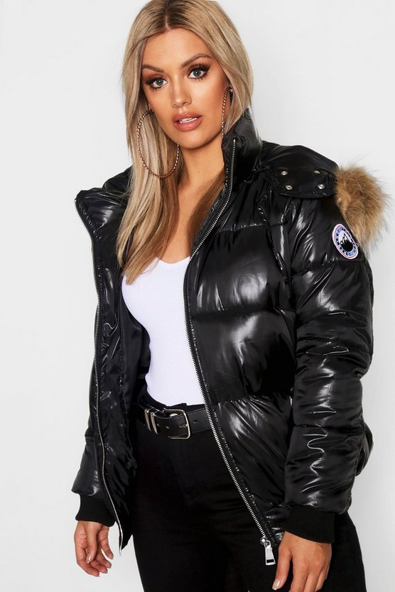 Womens Black Plus Faux Fur Trim Line Puffer Jacket