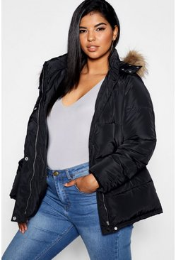 Womens Black Plus Drawstring Puffer Jacket
