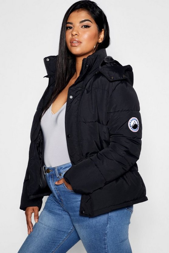 Plus Hooded Zip Through Puffer Jacket