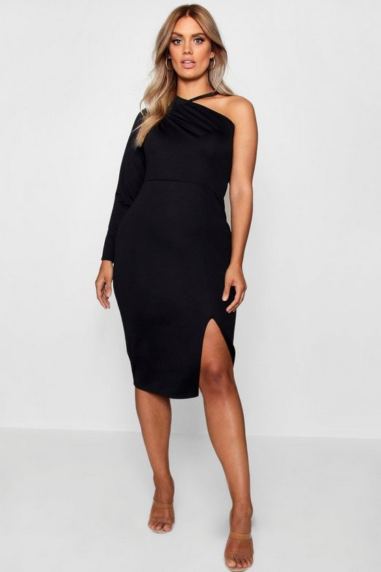 Womens Black Plus Split Front Asymmetric Midi Dress