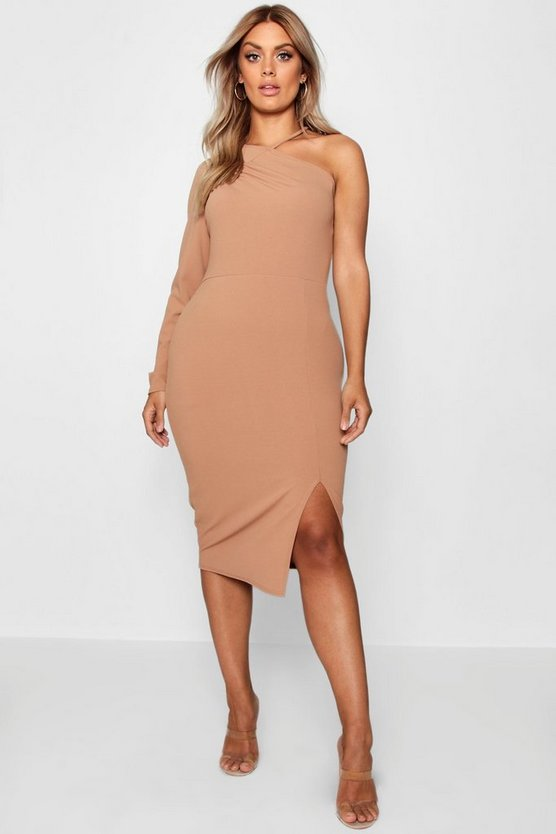 Plus Split Front Asymmetric Midi Dress