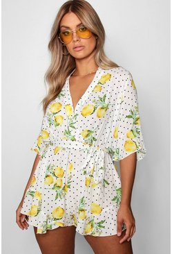 White Plus  Lemon Polka Dot Wrap Ruffle Playsuit