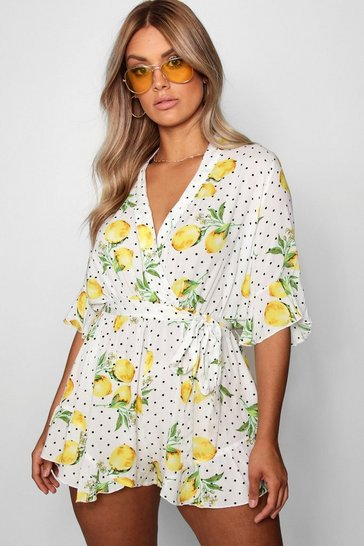 Womens White Plus Lemon Polka Dot Wrap Ruffle Playsuit
