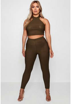 Womens Khaki Plus High Waist Skinny Pants