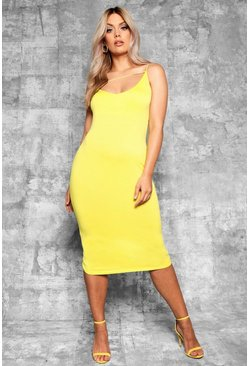 Womens Chartreuse Plus Plunge Front Strap Detail Midi Dress