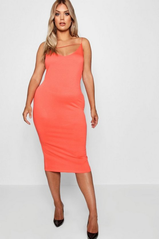 Plus Plunge Front Strap Detail Midi Dress