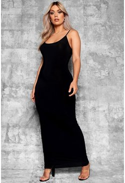 Womens Black Plus Slinky Strappy Maxi Dress