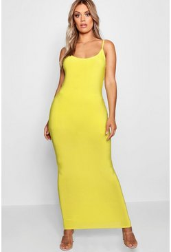 Womens Chartreuse Plus Slinky Strappy Maxi Dress