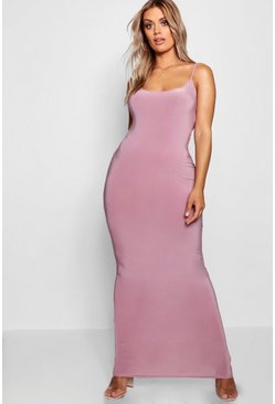 Womens Mauve Plus Slinky Strappy Maxi Dress