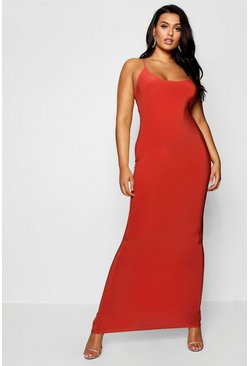 Womens Red Plus Slinky Strappy Maxi Dress