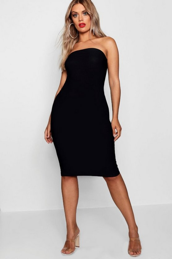 Plus Bandeau Fitted Midi Dress, Black, Donna