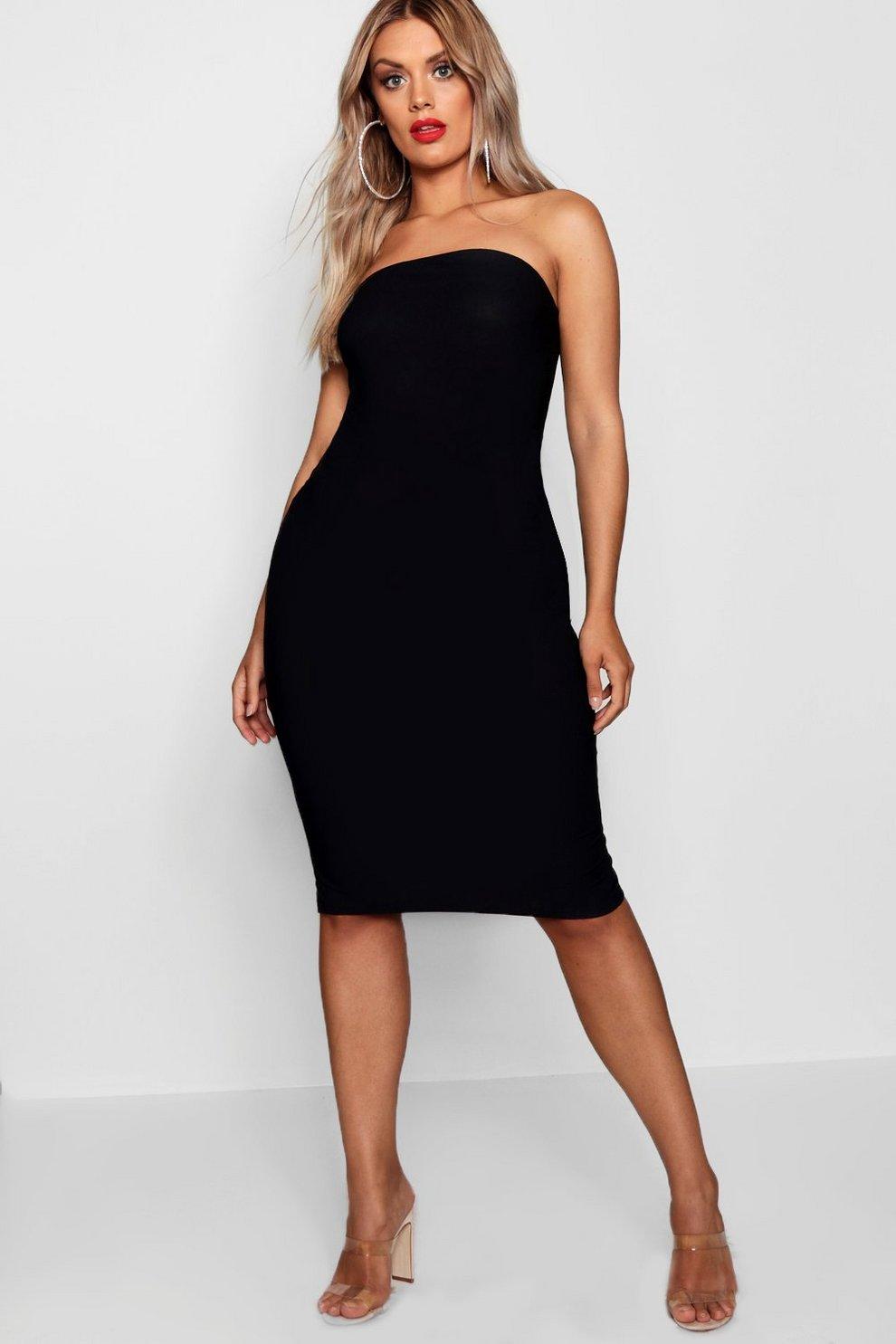a9172b161c12 Womens Black Plus Bandeau Fitted Midi Dress