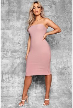 Mauve Plus  Bandeau Fitted Midi Dress