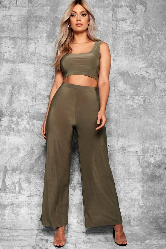 Womens Khaki Plus Slinky Wide Leg Trousers