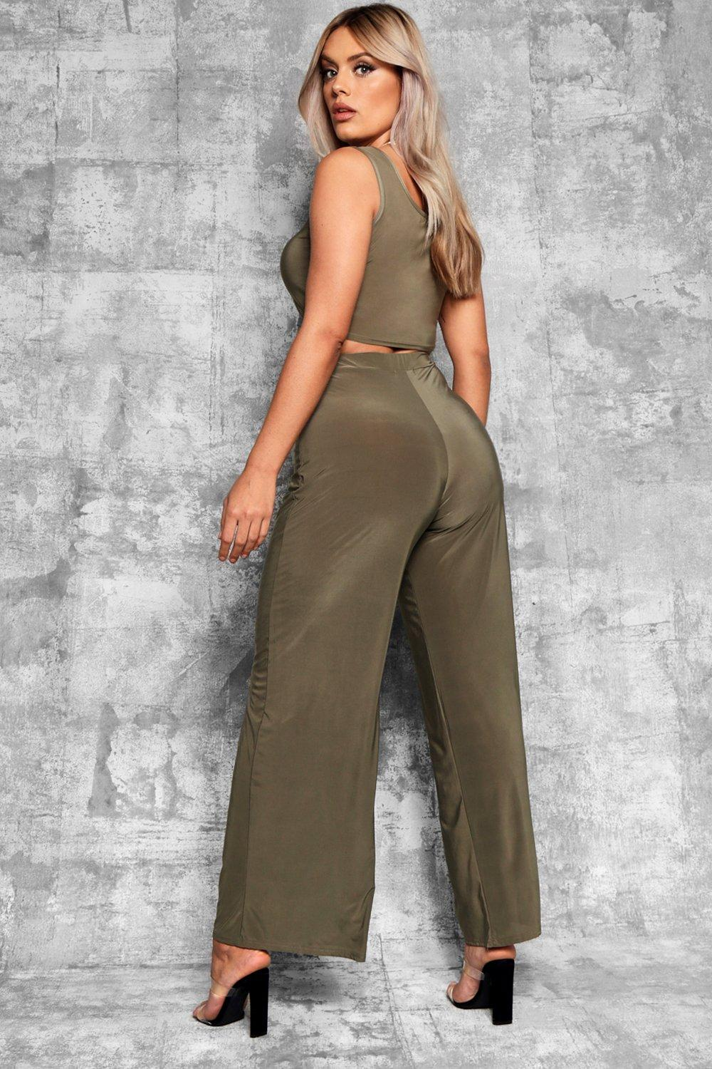 Slinky Plus khaki Wide Leg Trousers dOR8Ow