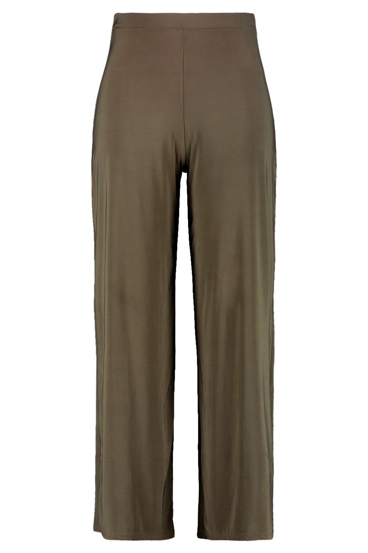 khaki Leg Wide Slinky Trousers Plus fwq0TXy