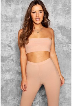 Womens Stone Petite Lauren Bandeau Crop Top