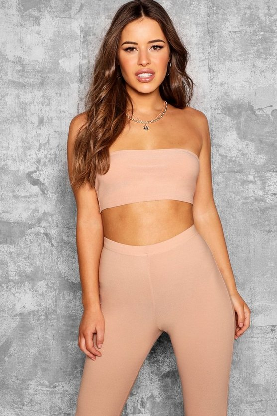 Petite Lauren Bandeau Crop Top, Stone, DAMEN