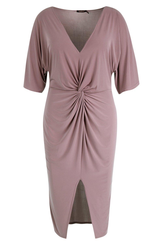 Kimono Sleeve Midi Slinky Dress Plus Twisted w4gBEqtx