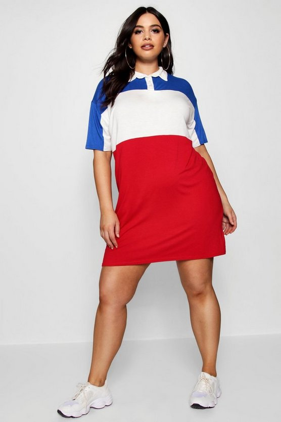 Plus Stripe Polo Shirt Dress