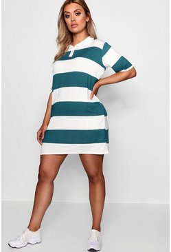 Womens Teal Plus  Stripe Rugby Polo T-Shirt Dress