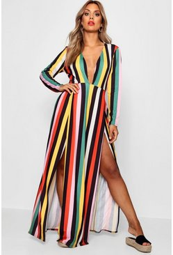 Womens Green Plus Stripe Wrap Maxi Dress