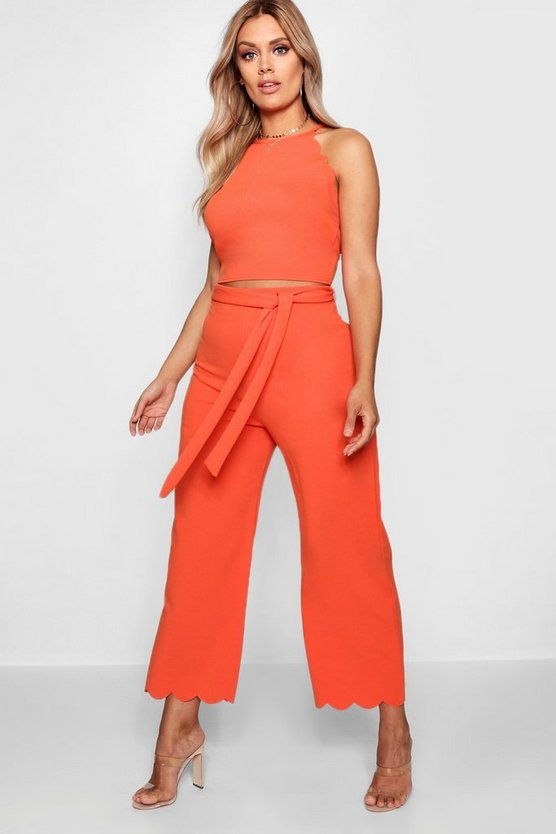 Plus Scallop Edge Crop + Trouser Co-ord