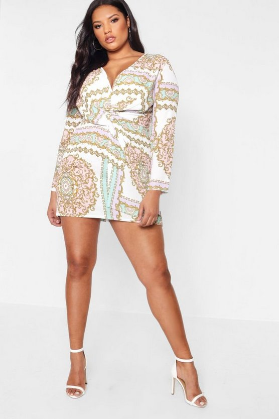 Womens Ivory Plus  Printed Knot Detail Dress