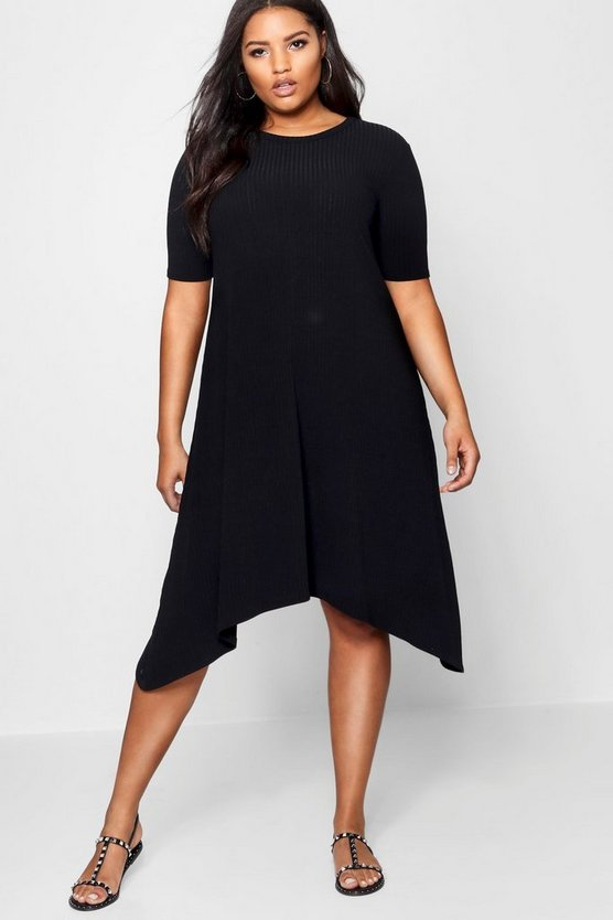 Womens Black Plus Ribbed Hanky Hem Dress