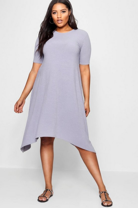Plus Ribbed Hanky Hem Dress