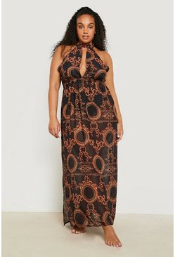 Plus Gemma Collins Chain Print Maxi Beach Dress, Black