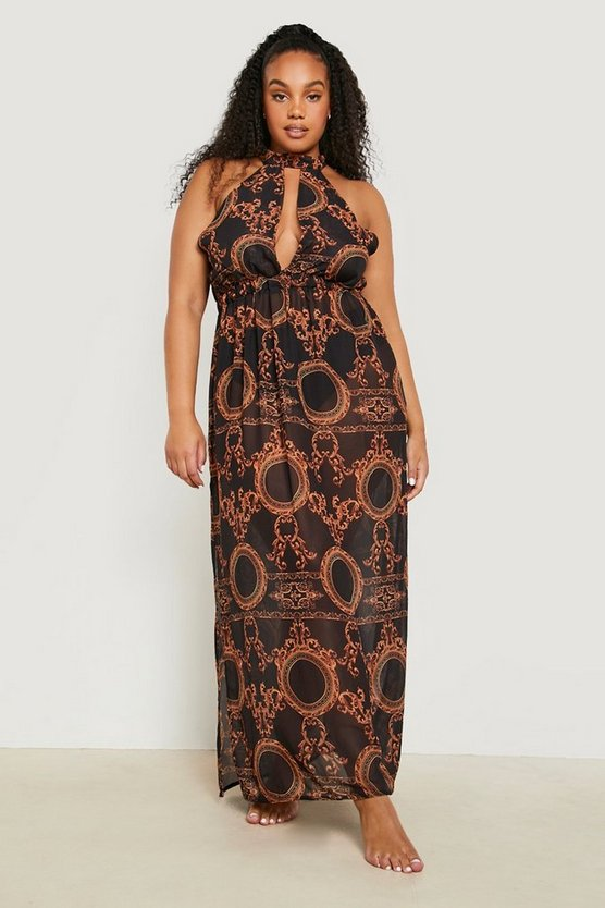 Womens Black Plus Collins Chain Print Maxi Beach Dress