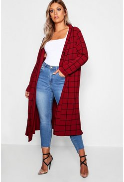 Plus Windowpane Check Duster, Berry