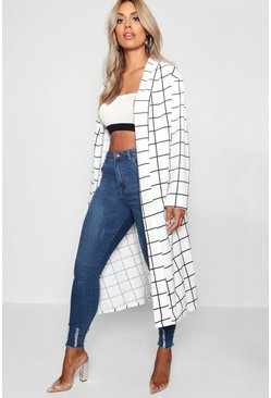 Womens White Plus Windowpane Check Duster