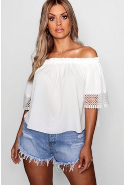 Womens Ivory Plus Woven Crochet Sleeve Off Shoulder Top