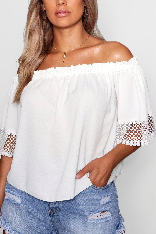 marfil tejido Top de hombros Plus crochet mangas con descubiertos con zqaqtU