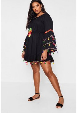 Black Plus  Tassel Trim Flare Sleeve Beach Dress