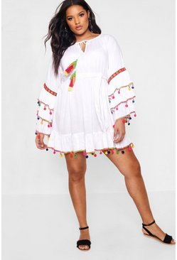 Womens White Plus  Tassel Trim Flare Sleeve Beach Dress