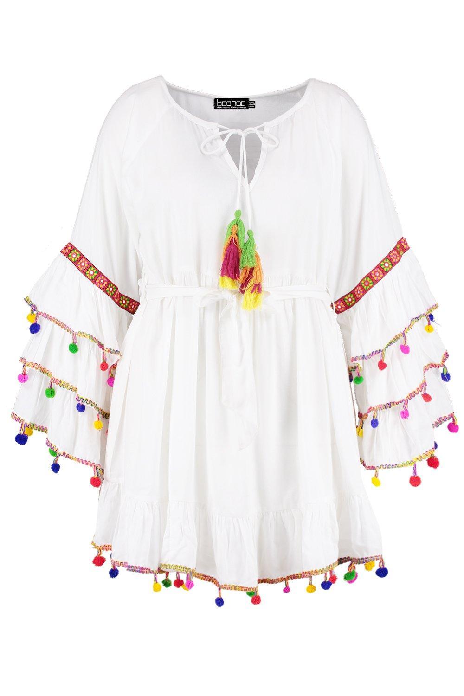 con corto playero borlas Vestido con blanco Plus manga acampanada qESxHn
