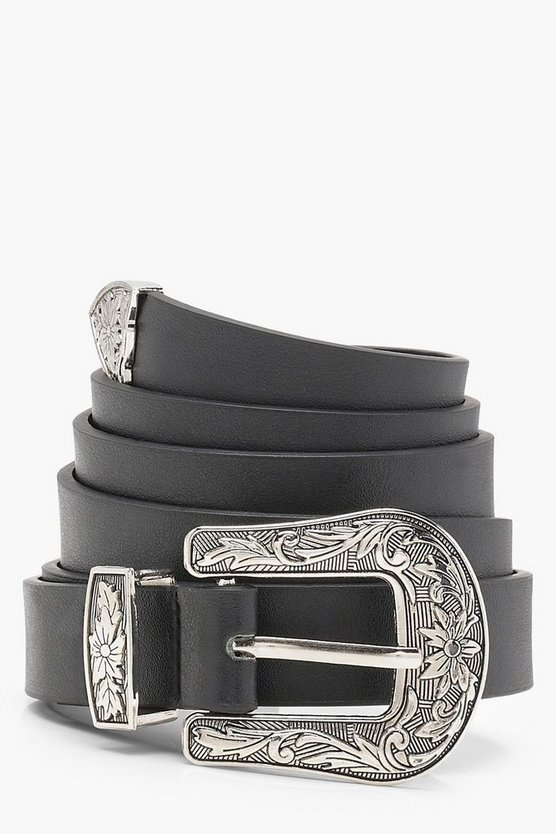 Womens Black Plus Western Buckle Belt