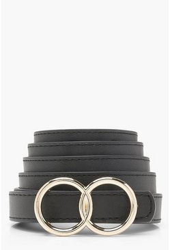 Black Plus Double Ring Buckle Belt