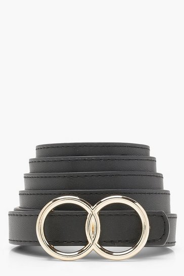 Womens Black Plus Double Ring Buckle Belt